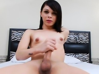 Hot ass small tits tranny masturbates her hard dick