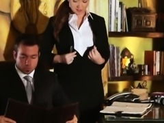 Slutty secretary Maddy OReilly glamcore scene on the desk