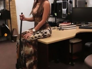 Busty latina flashing body in a pawnshop
