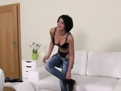 Czech amateur has gangbang casting in office
