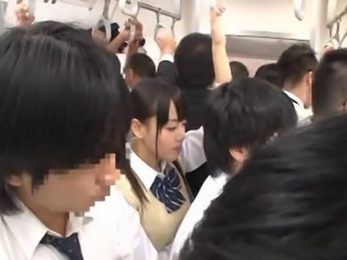 Japanese Schoolgirl Gets Train Choke + Squirting