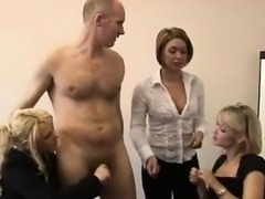 Bad British ladies strip CFNM guy in office