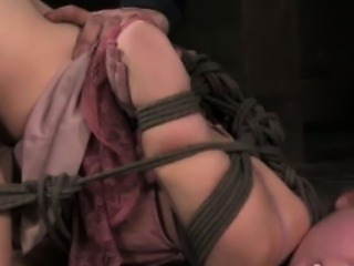 Frogtied blonde sub getting dildofucked