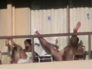 Sex on a balcony in ibiza