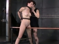 Pierced clit bdsm bondage Ashley Lane grinds on bar