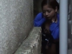 Hairy asian seen pissing