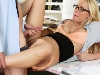 Gorgeous blonde office girl Vanessa Cage screwed up on desk