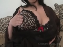 Close-up with BBW mature showing tits free