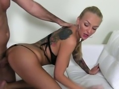 Tattooed busty amateur big tits fucked on casting
