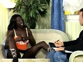 Horny African hottie seduces an European businessman