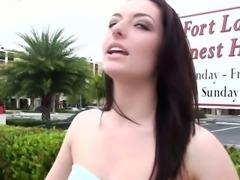 Stranded freckled amateur deepthroating stranger