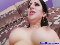 Brunette milf pounded with hard cock free