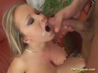 Busty blondes are double penetrated
