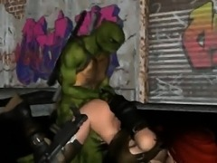 3D cartoon babe getting fucked by a Ninja Turtle
