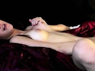 Perky tits brunette Candy Sweet solo masturbation on the bed