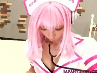 Cosplay Super Sonico in nurse outfit gives footjob