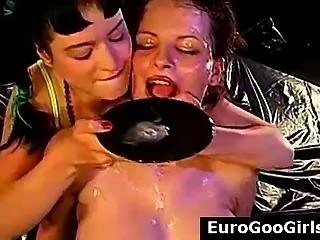 Group cum facials for European bukkake sluts