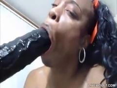 Nasty black squirt Queen Anita with hairy pussy enjoys huge dildo free