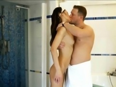 Skinny brunette teen girl Angie ass nailed in the bathroom