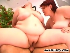 2 hot fat amateur Milf in a threesome with facial free