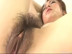 Sara furry muff and fresh faced covered in cum free