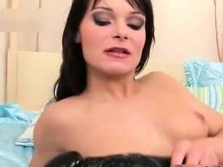 Dirty brunette slut gets horny sucking