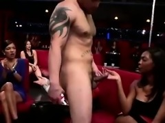Amateur party girls give CFNM stripper blowjobs