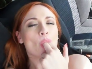 Hitchhiking redhead cheerleader Eva Berger banged in the car