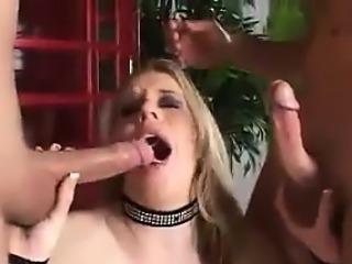 Dirty Blonde Enjoying Two Cocks