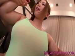 Oiled up mature Ai Sayama sucks two dicks free