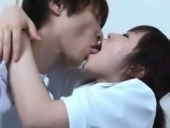 Cute asian nurse gets horny making out