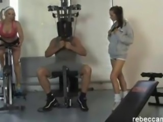 Horny blonde gym slut gets pussy fucked by personal trainer after hot lesbian workout