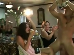 Group of amateur CFNM babes sucking stripper cock at party