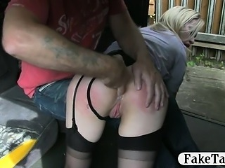 Huge tits amateur fucked on the top hood for a free fare