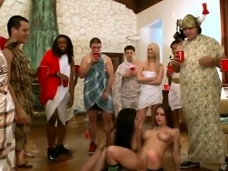 Toga Party Chicks Riding Lucky Studs Big Roman Cock