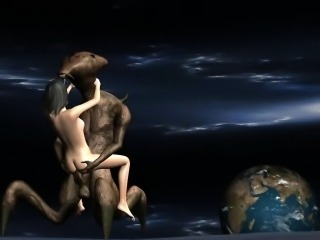 3D babe sucks cock and gets fucked hard by an alien