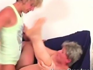 Hot sperm on a grannys belly