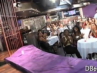 Awesome girls engulfing dirty ramrod of strip dancer