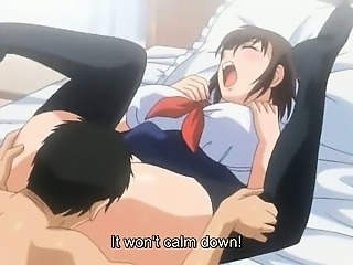 Pervert anime with milky boobs gets fucked
