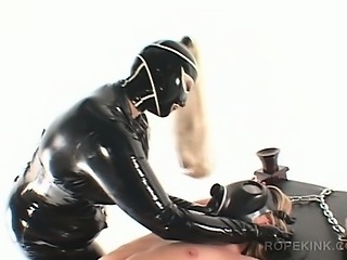 BDSM lesbo slave toyed with pussy pump