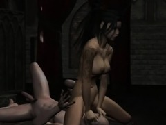 Tattooed 3D cartoon babe gets licked and fucked