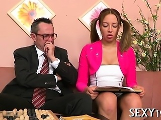 Tricky teacher seducing adorable student