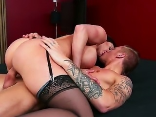 Sexy mom Kendra Lust rides Richie Black in sexy lingerie belt and black...
