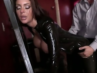 Big tits  tattooed slut Brook Ultra wearing latex in a hardcore sex videos