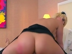 Sexy bodied hotel maid Kagney Linn Karter shows off her pink bald pussy and...