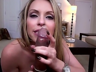 Topless Courtney Cummz gives interracial blowjob