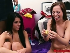 Pledged lesbos toying with dildo at their initiation