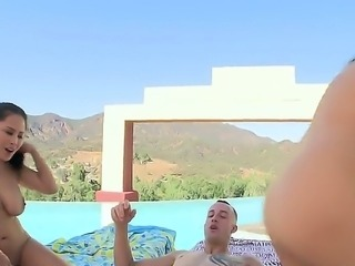 Asian MILF Jessica Bangkok and younger Linda Lay both with  juicy boobs and bubble butts get their meaty pussies pumped fill of cock in FFM threesome by the pool. Lucky dude bangs them hard in the shadow.