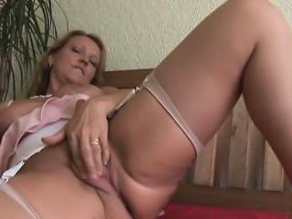 Busty blonde Milf in stockings upskirt tease