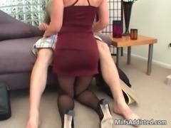 Horny brunette sucking cock and gets free